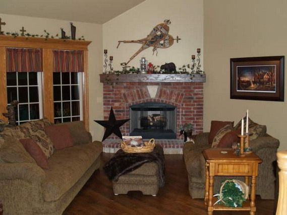 Corner Rock Fireplaces with Mantles Classic red brick corner