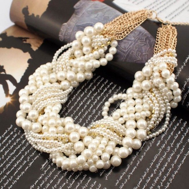 Multi Pearl Braided Necklace