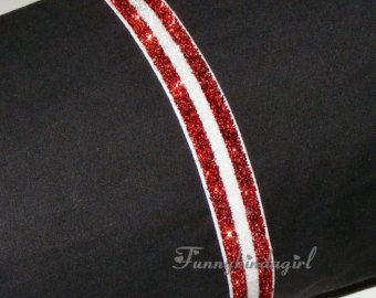Red and White Striped Glitter Elastic Headband 5/8 inch Interchangeable Sparkly Christmas Candy Cane Doll to Adult School Team Colors