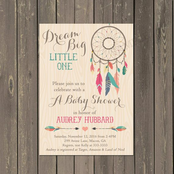 dreamcatcher baby shower invitation, tribal boho shower invite, Baby shower invitations