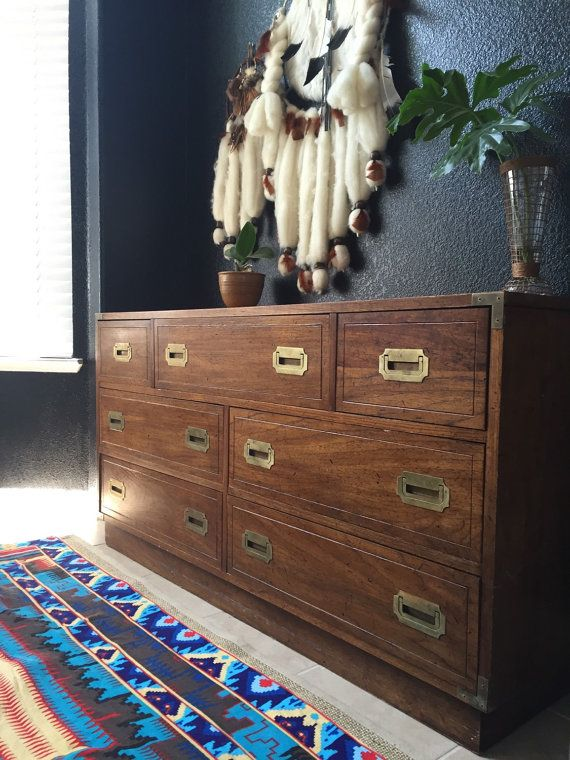 Pickup Or Local Sacramento Delivery ONLY // Midcentury Wood Dresser With  Brass Drawer Pulls Manufactured By Burlington House Furniture In The Mid