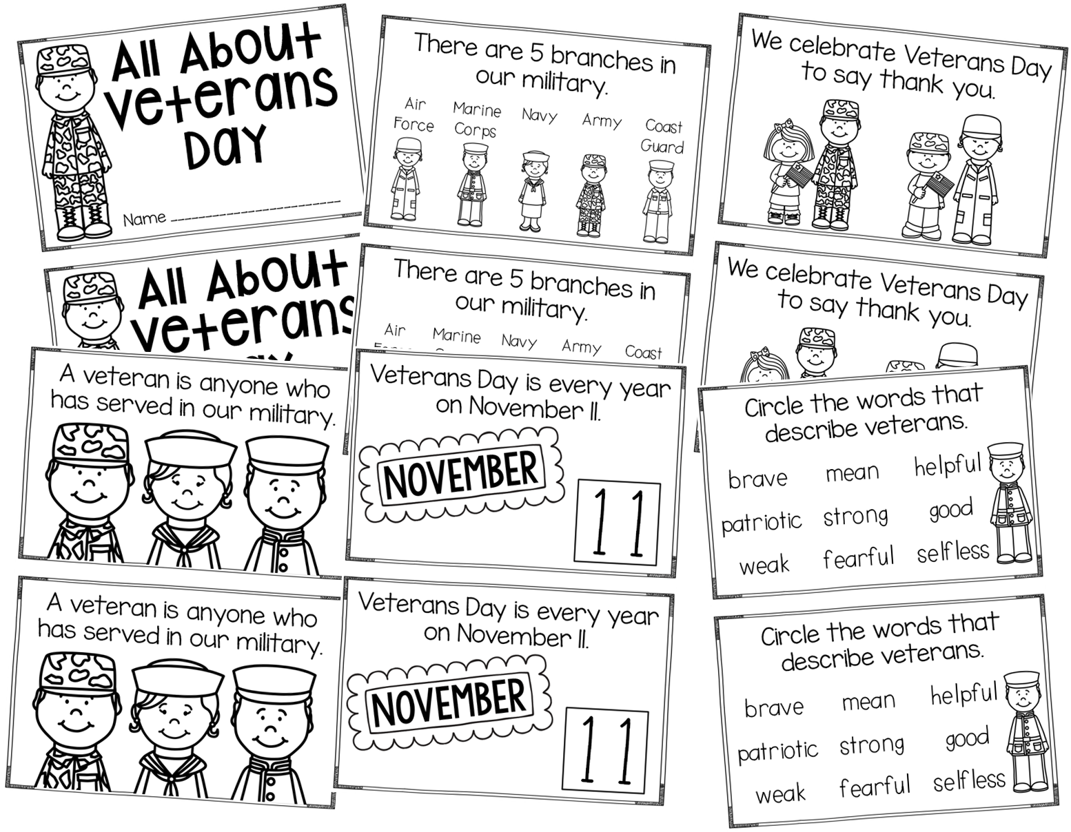My Silly Firsties Veterans Day Just Print