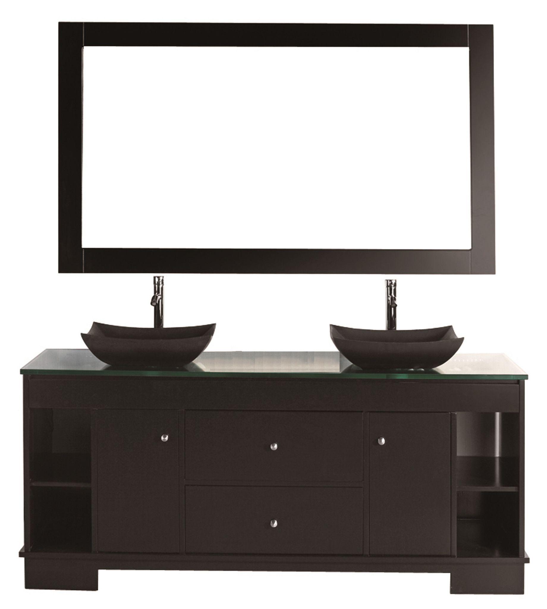 "Oasis 60"" Double Sink Vanity Set in Espresso with Mirror"