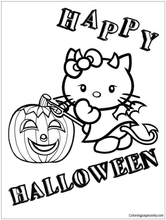 Devil Hello Kitty And Pumpkin Halloween Coloring Page