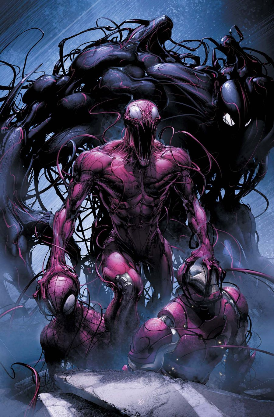 Carnage vs Spiderman and Iron Man