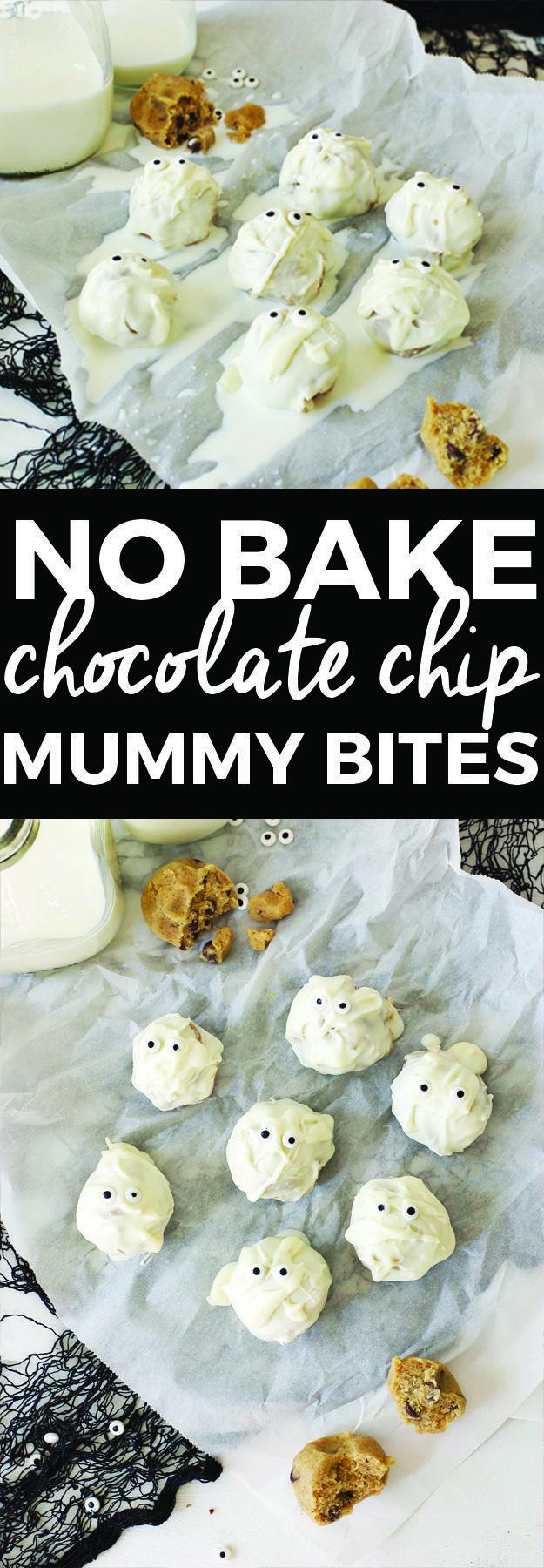 No Bake Chocolate Chip Mummy Bites Easy halloween food