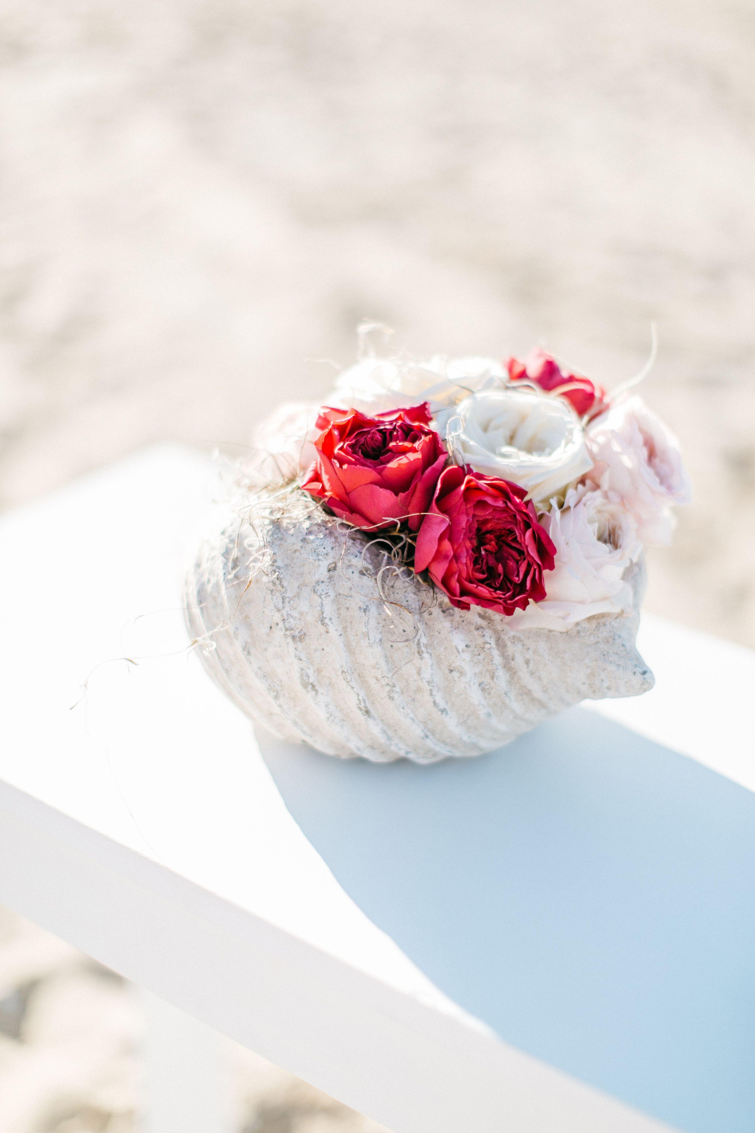 White Red Roses Shell Beach Wedding Ceremony Love Romance