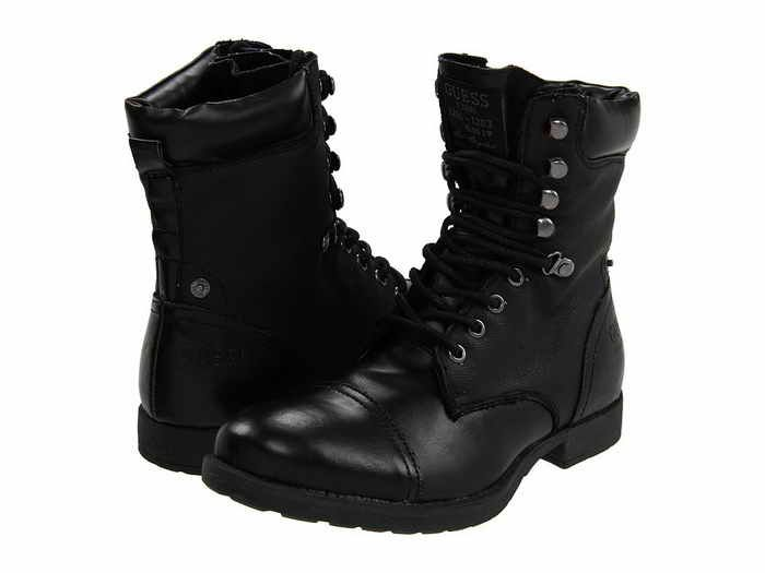 men's boots black | GUESS Cuzin Black Boots for Men | Gemini ...