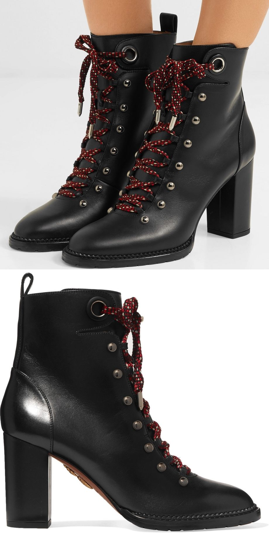 1eb1fcc833b4b Aquazzura s hiker-inspired boots have been made in Italy from smooth black  leather and rest