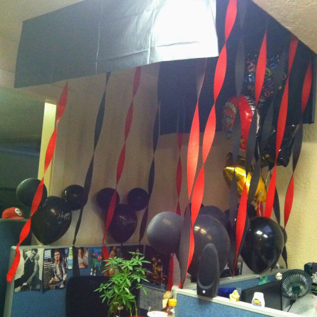 My cubicle decorated for my birthday by co workers some for Cubicle theme ideas