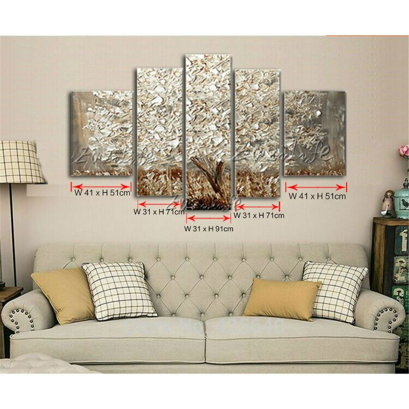 Oil Painting 5 Panel 5 Piece Canvas Cuadros Decoracion Wall Art Picture Modern Abstract Home Decor Living R Gold Wall Decor Silver Wall Decor Wall Decor Amazon Canvas for living room uk