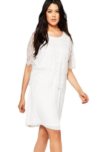 White Eyelash Lace Chiffon Dress LAVELIQ
