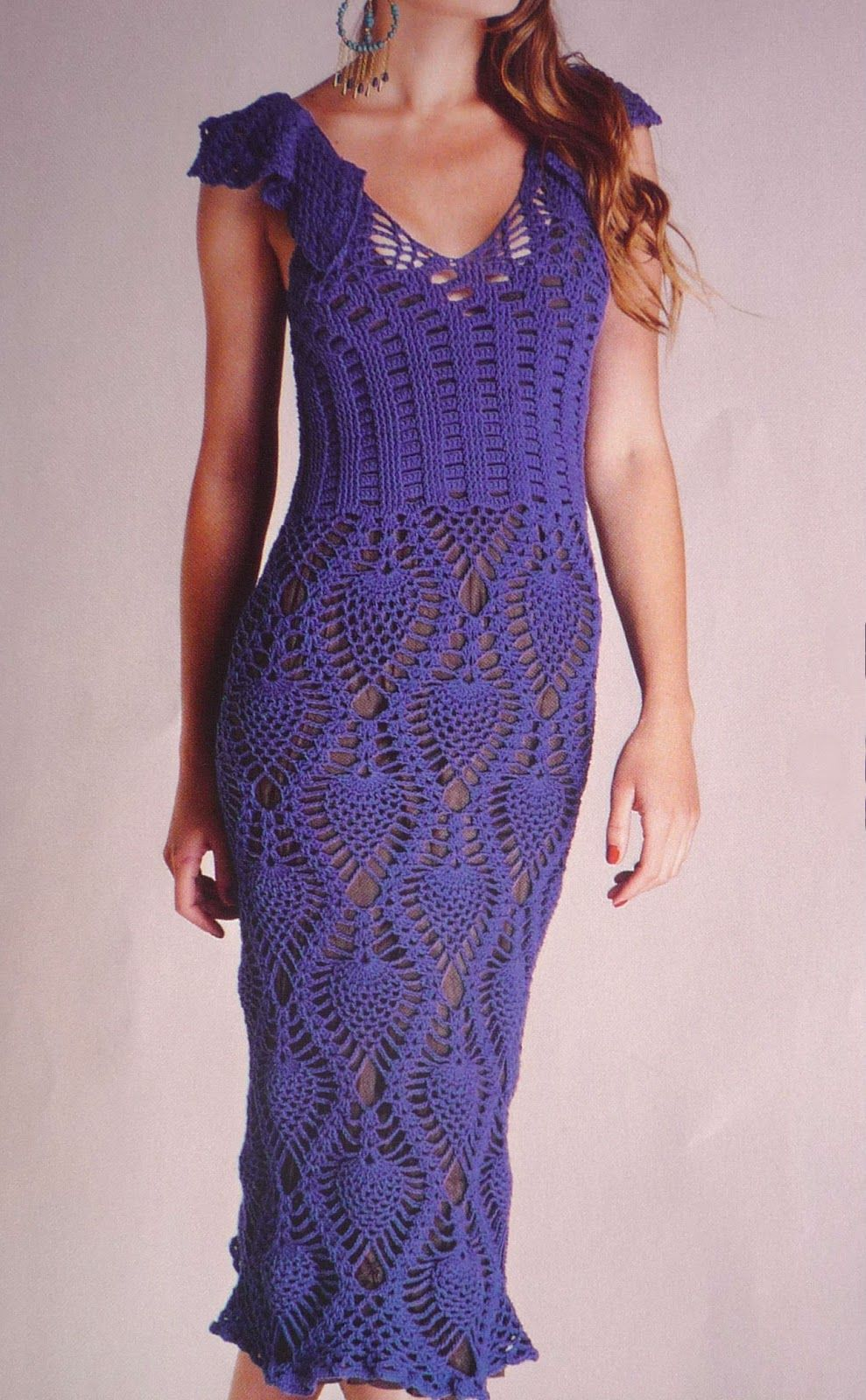 Vestido con punto piña (pineapple stitch dress) | Crochet ...