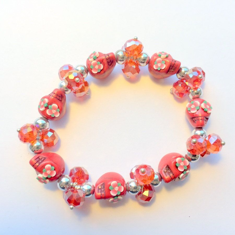 Red Day of the Dead Flower Eye Sugar Skull Stretch Bracelet by PennysLane on Etsy