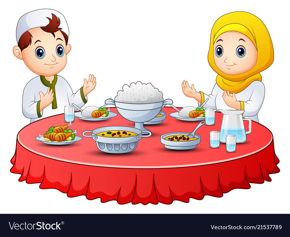 Muslim Kid Pray To Her Before Break Fasting Vector Image
