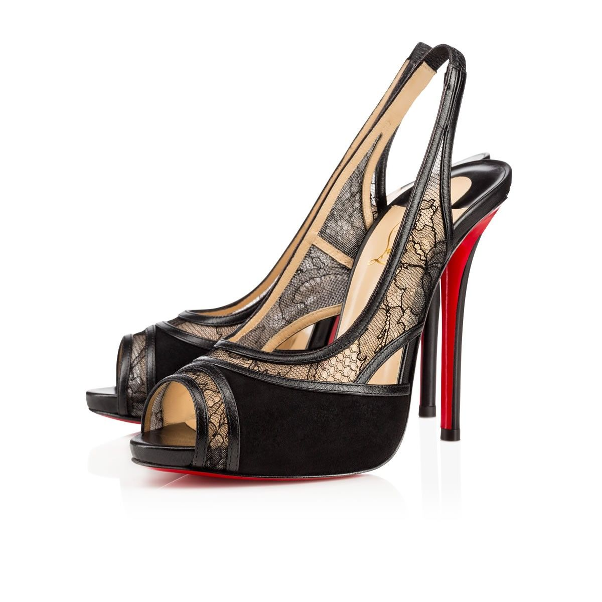 """Pairing leather and lace, """"Znouba"""" is a seductive new sling back this season. Featuring an open toe and 120mm apostrophe heel, this black version is a ravishing red sole look for parties and events."""
