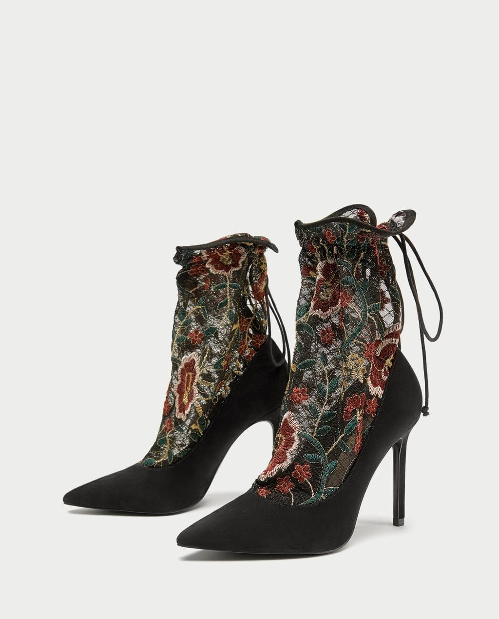 0ac24b1c0bb ZARA - WOMAN - EMBROIDERED STOCKING-STYLE HIGH HEEL COURT SHOES
