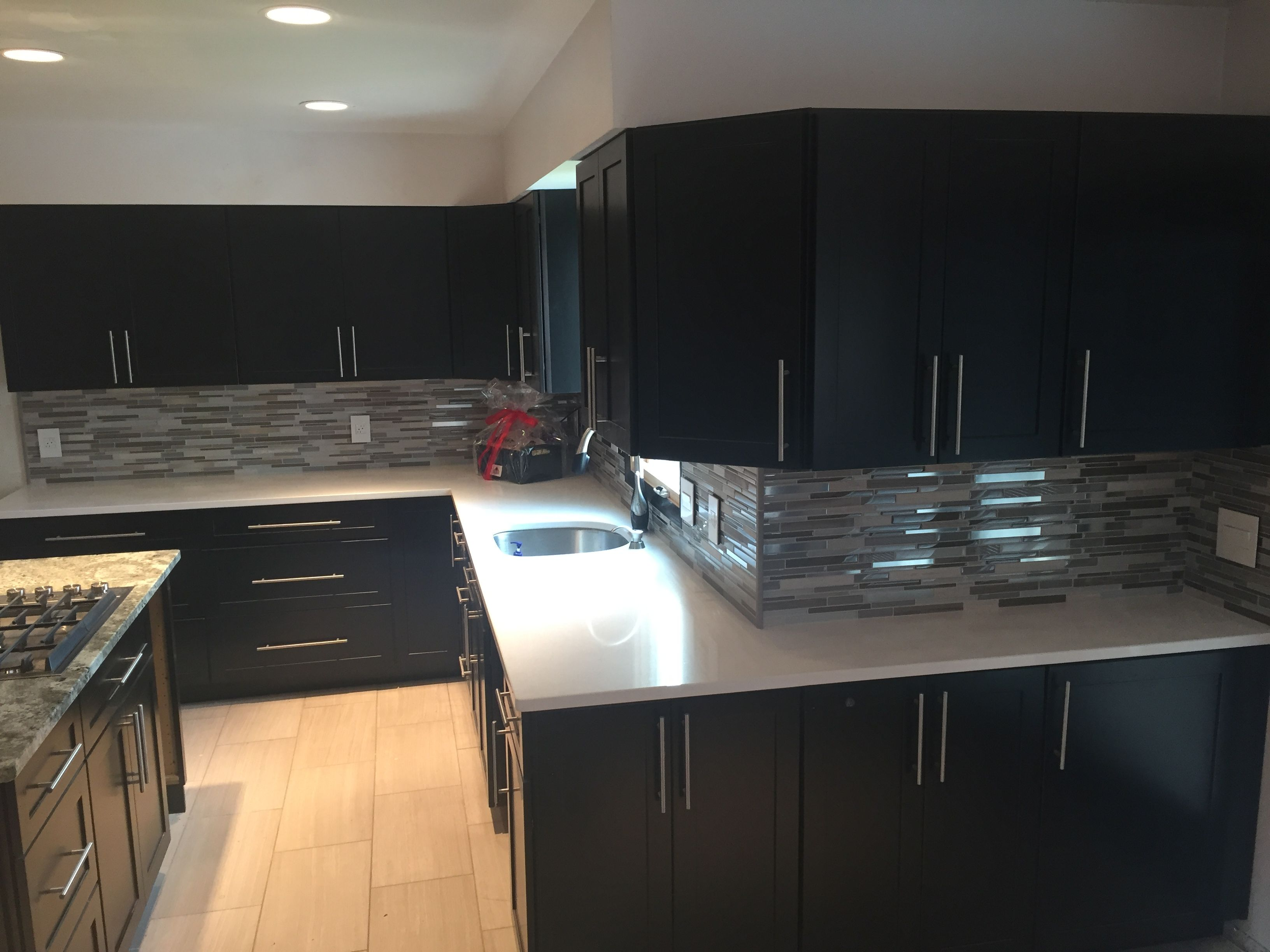Kitchen White Cabinet Dark Grey Floor Tiles Outofhome Grey Kitchen Floor Kitchen Flooring Kitchen Renovation