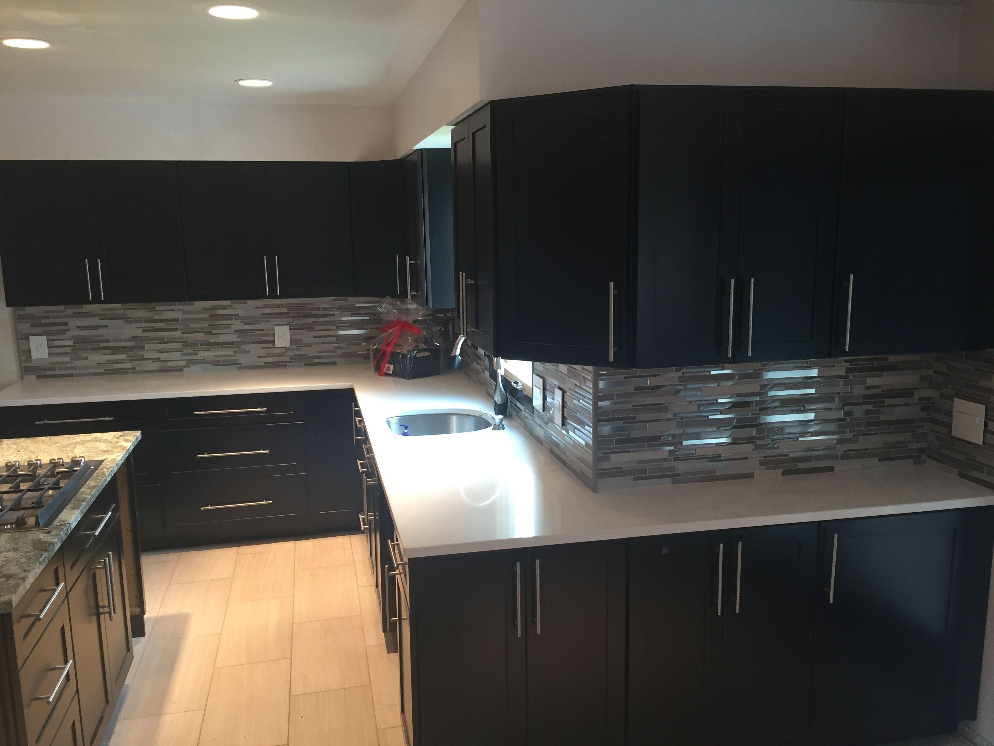 Best Kitchen Gallery: We Installed Ebony Kitchen Cabi S With Glass Mosaic Tile of Ebony Kitchen Cabinets on rachelxblog.com