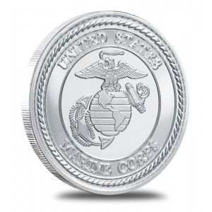The Obverse Bears The Marine Corps Emblem With Bald Eagle Globe And Fouled Anchor The Banner Held In The Eagle S Bea Silver Bullion Fine Silver Silver Rounds