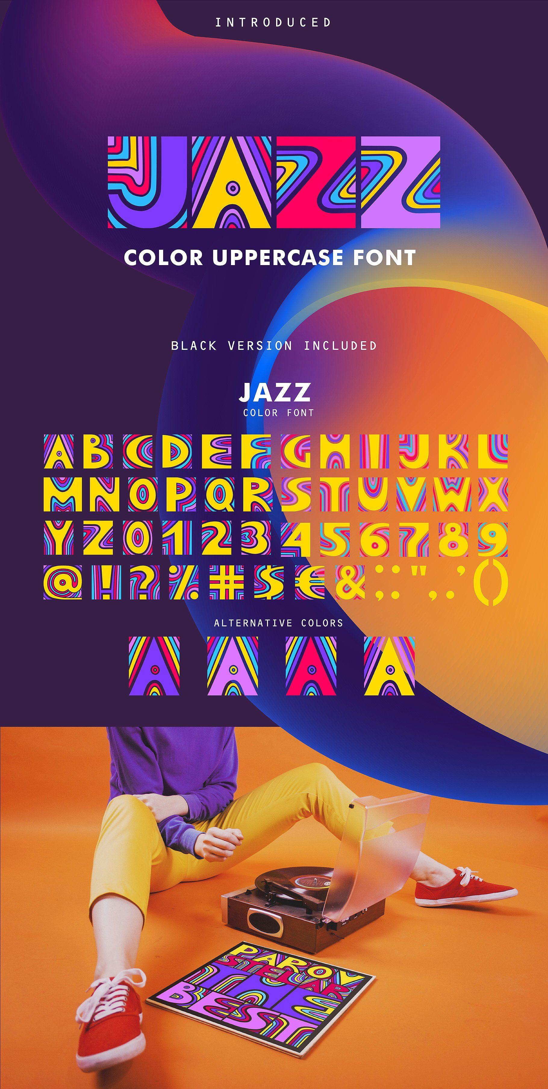 JAZZ SVG Color Font Jazz colors, Photo overlays, Music