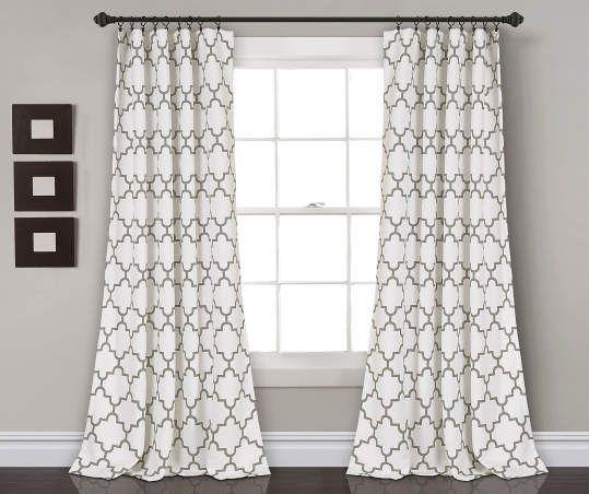 Bellagio Gray White Trellis Room Darkening Rod Pocket Curtain Panel Pair 95 Panel Curtains Living Room Decor Curtains Curtains Living Room