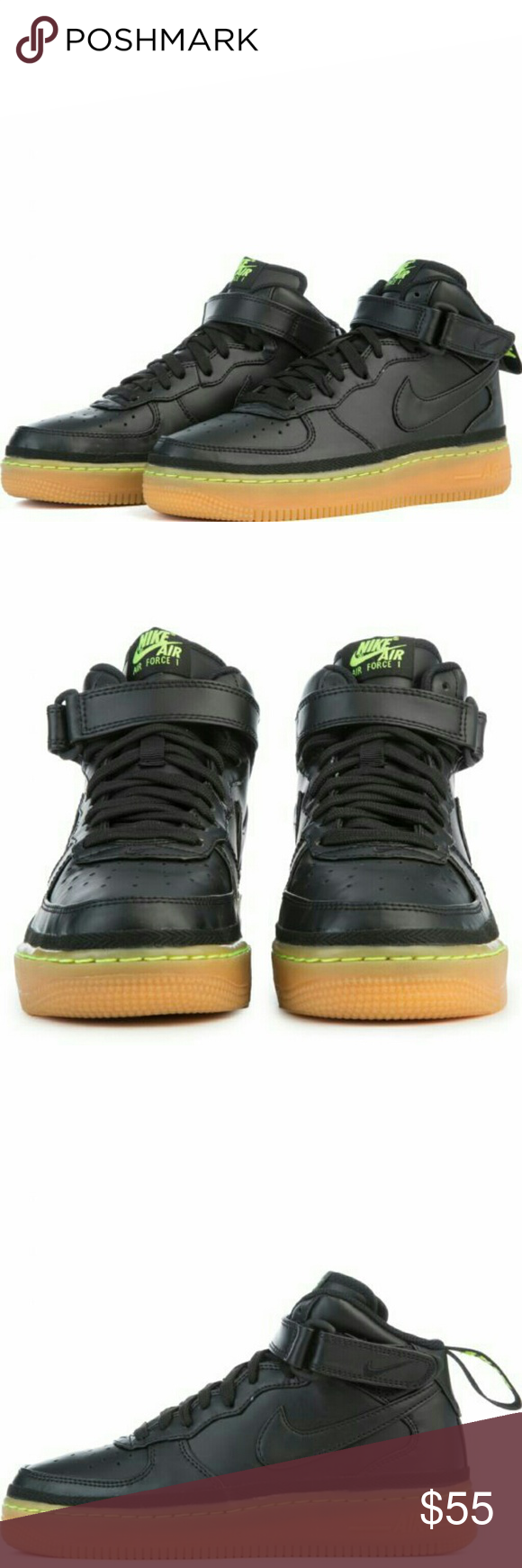 sports shoes 8be28 23c71 NEW Nike Air Force 1 Mid LV8 Black/Lime Green/Gum NEW Nike Air Force ...