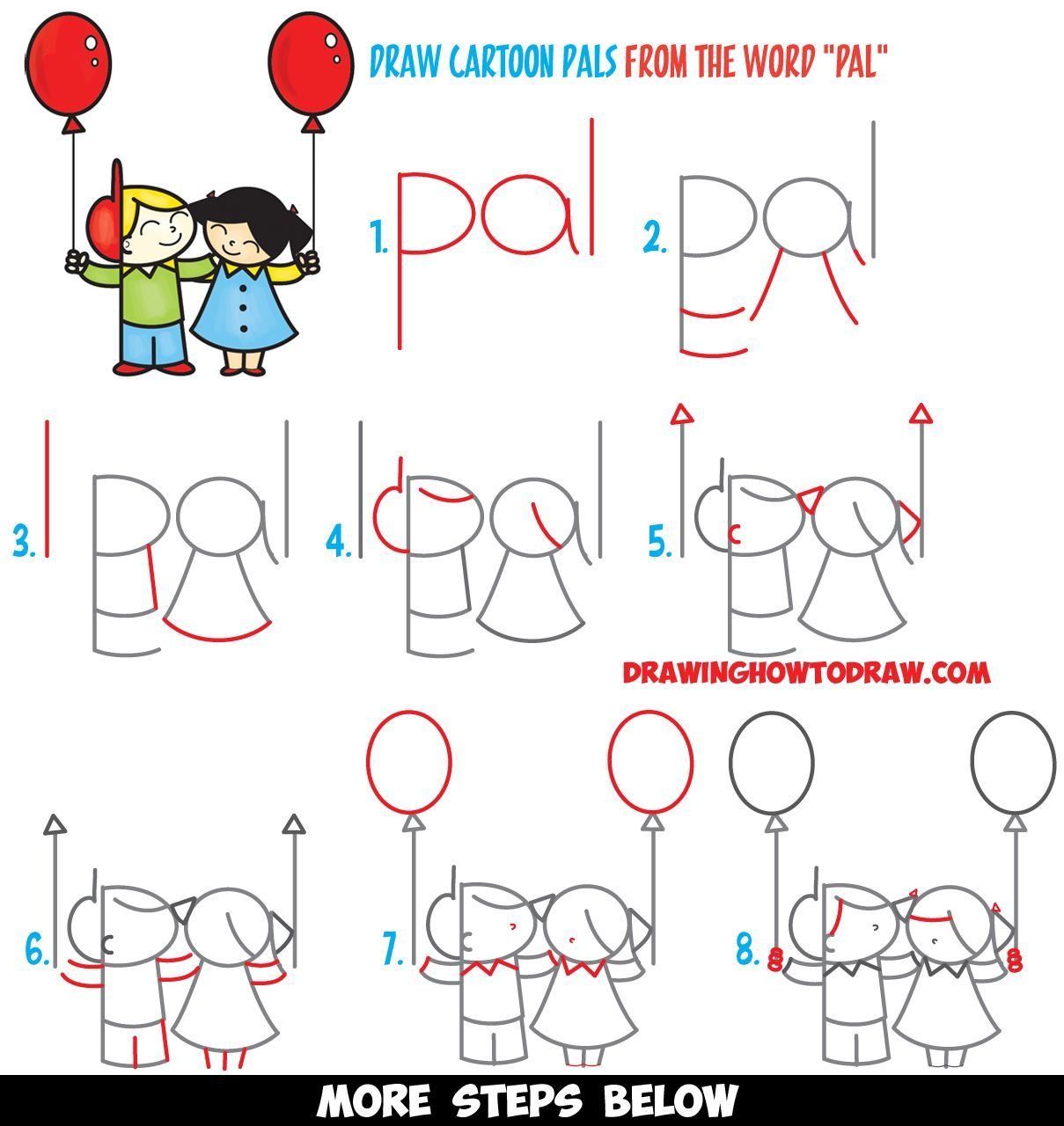 how to draw 2 cartoon friends or pals from the word pal word toon easy step by step drawing tutorial for kids [ 1209 x 1280 Pixel ]