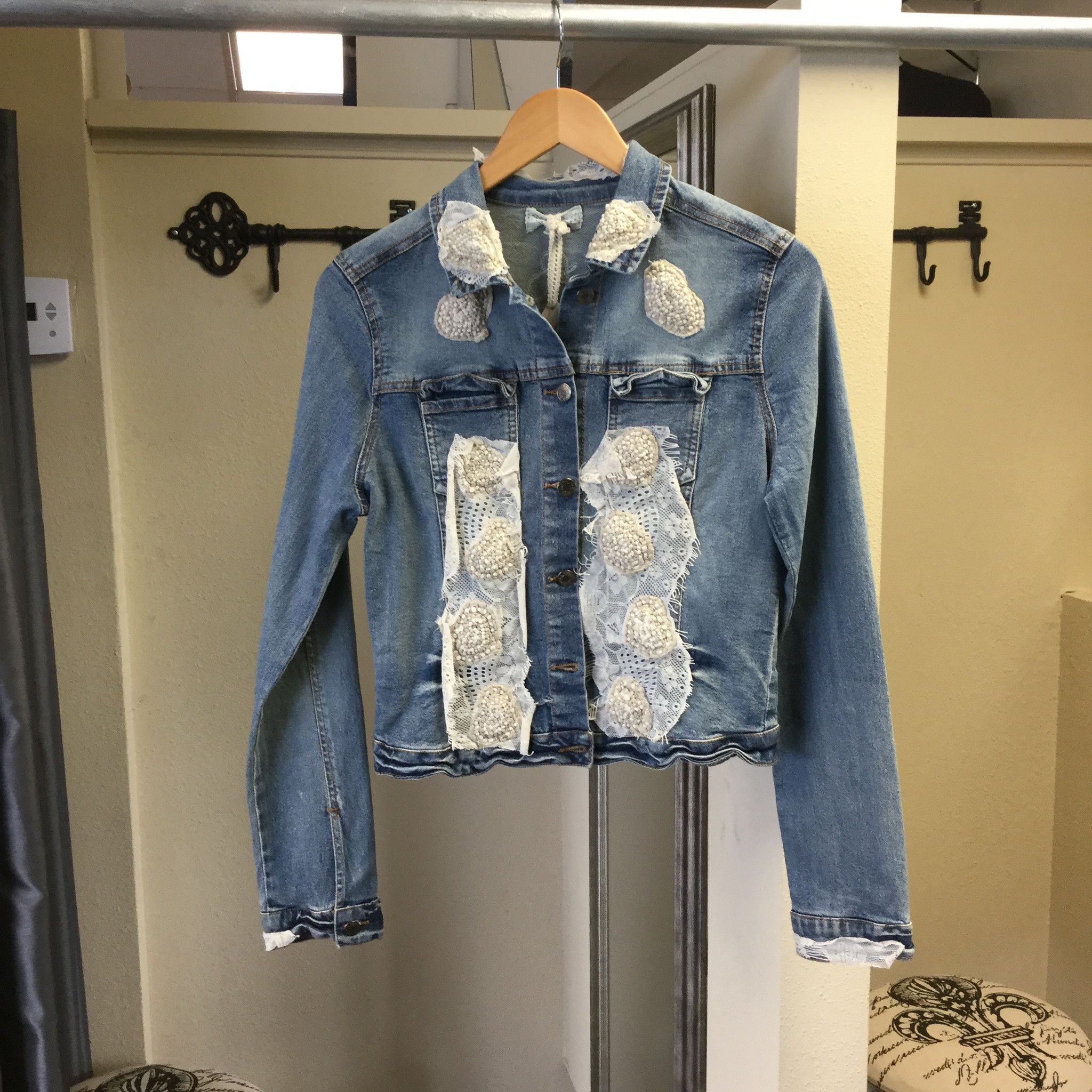 Jacket true blue jean with embroidery patterns products blue and