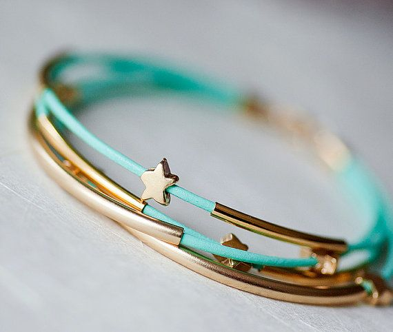 Mint Green Leather Bracelet with Mat Golden Small Stars and Tubes by pardes israel $22.00