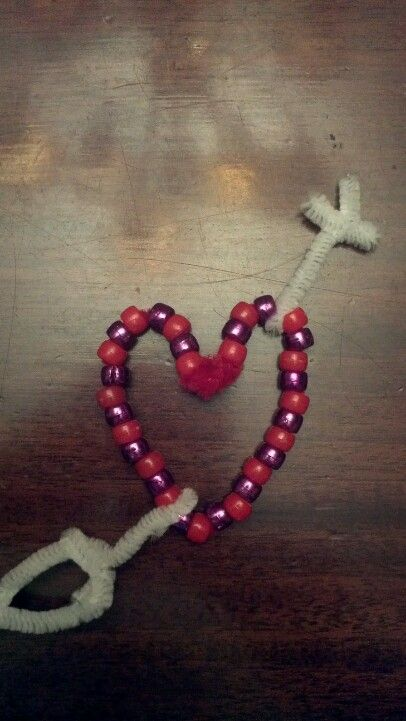 Valentine craft with beads and pipe cleaners by a 5th grader