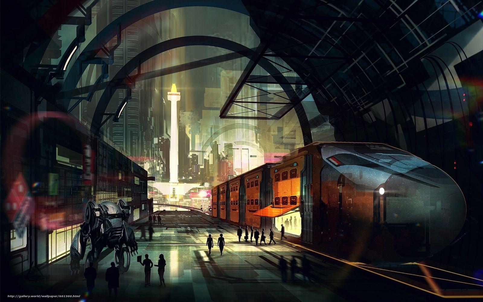 壁紙をダウンロード サイバーパンク 都市 トレイン デスクトップの解像度のための無料壁紙 19x10 絵 都市 デジタルアート トレイン
