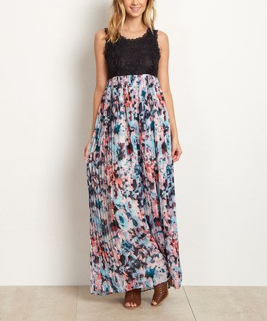 Another great find on #zulily! Black & Blue Floral Chiffon Scoop Neck Maxi Dress #zulilyfinds