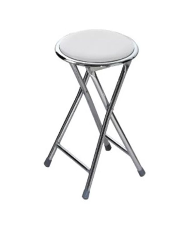 Folding round stool silver frame soft padded kitchen seat chair ...