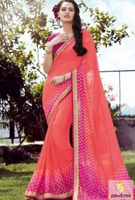 f1535294c7 Trendy pink color georgette formal daily wear saree at low price. This  normal and simple