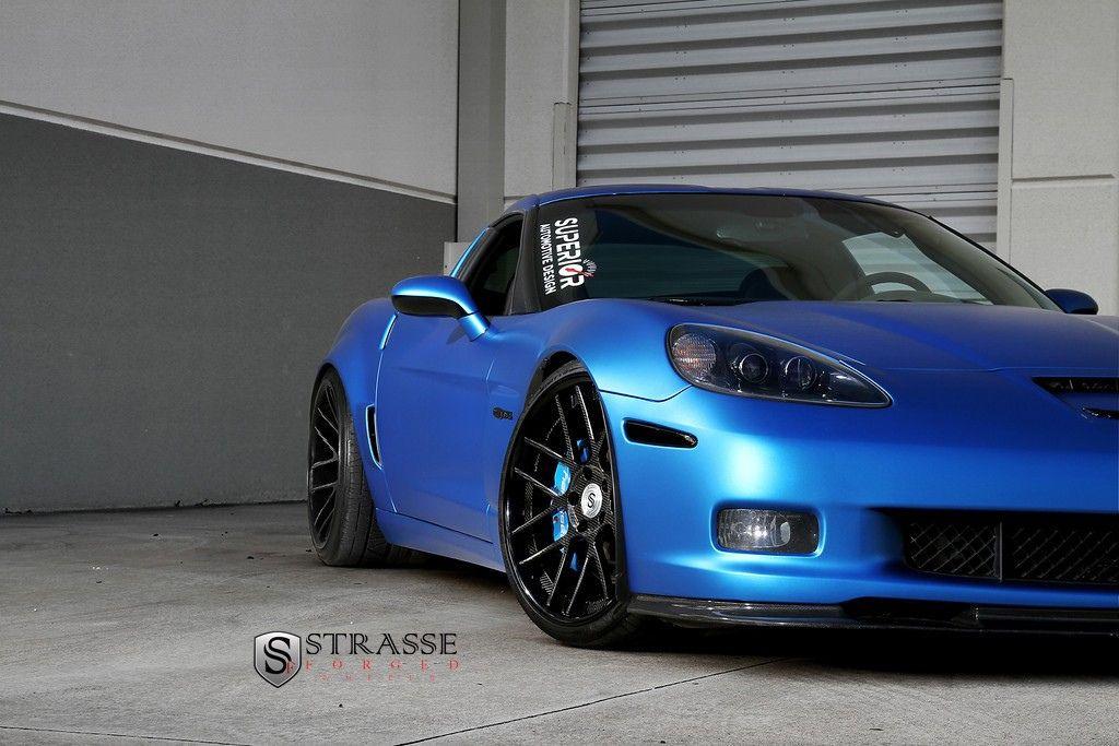 Strasse Wheels Matte Blue Z06 Corvettes