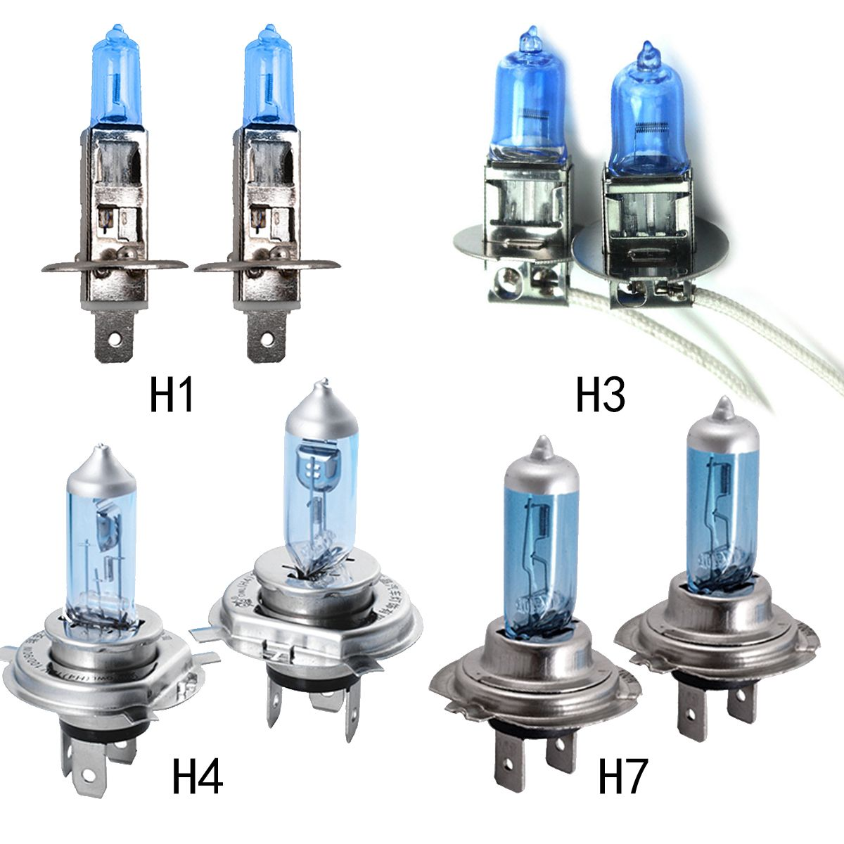 10 pcs Voiture Phare H1 H3 H4 H7 Lampe Super Blanc Car Auto Head