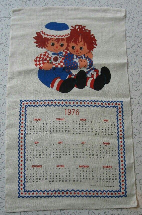 Vintage Linen Calendar Tea Towel, Wall Hanging - 1976 - Raggedy Ann & Andy - NWT