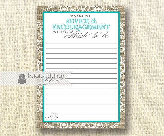 Advice Card Bride To Be INSTANT DOWNLOAD 5x7 Tiffany Blue Bridal Shower Shabby Chic Encouragement Lace Burlap Printable or Printed- Jackie on Etsy, $8.00
