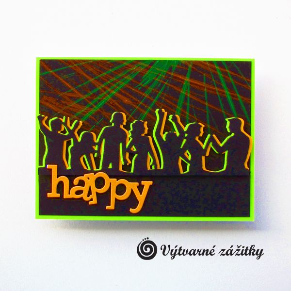 VyZa: Happy. Disco. Neon card.