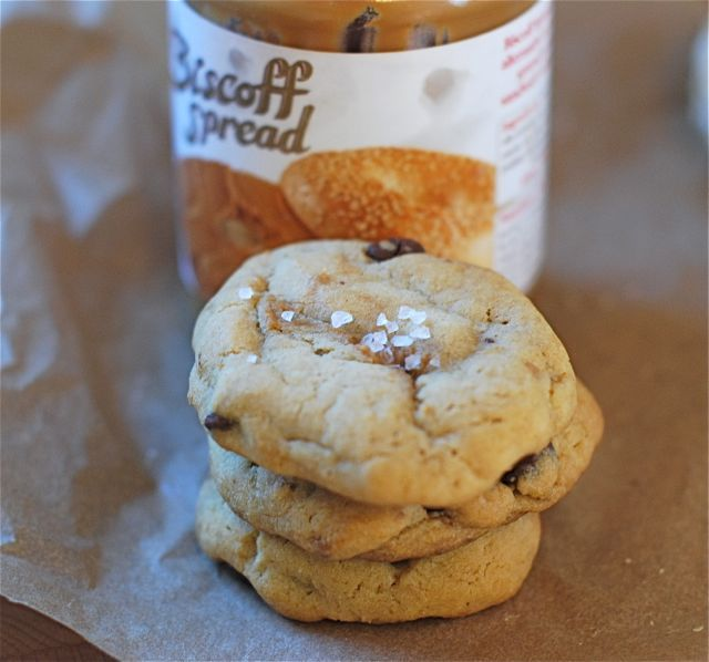 Biscoff Stuffed Salted Chocolate Chip Cookies