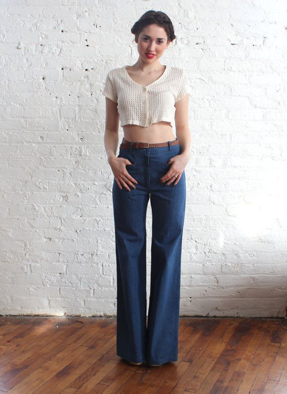 1970s bell bottom jeans / 70s bellbottoms / high waist jeans (s ...
