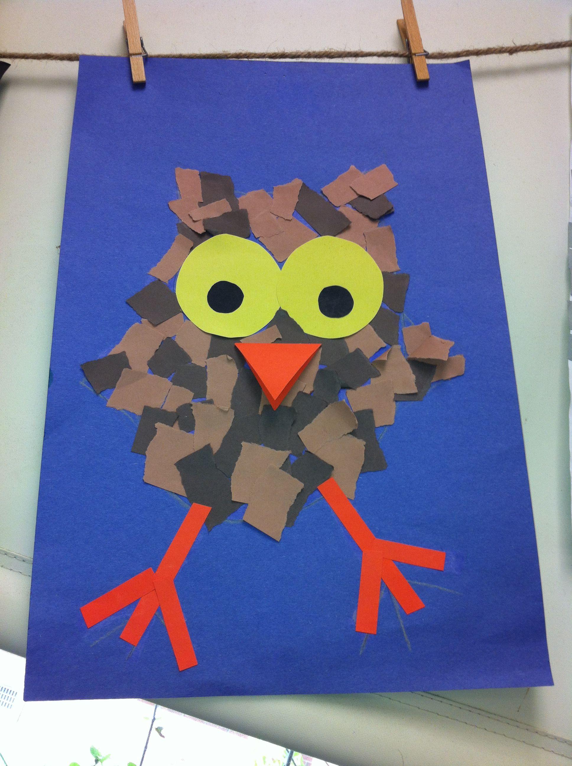 Rip Paper Owlets- Kindergarten Art- ( art teacher: v