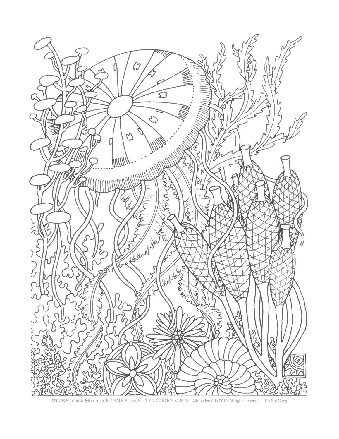 coloring pages aquatic bouquets set of 8 by emerlyearts