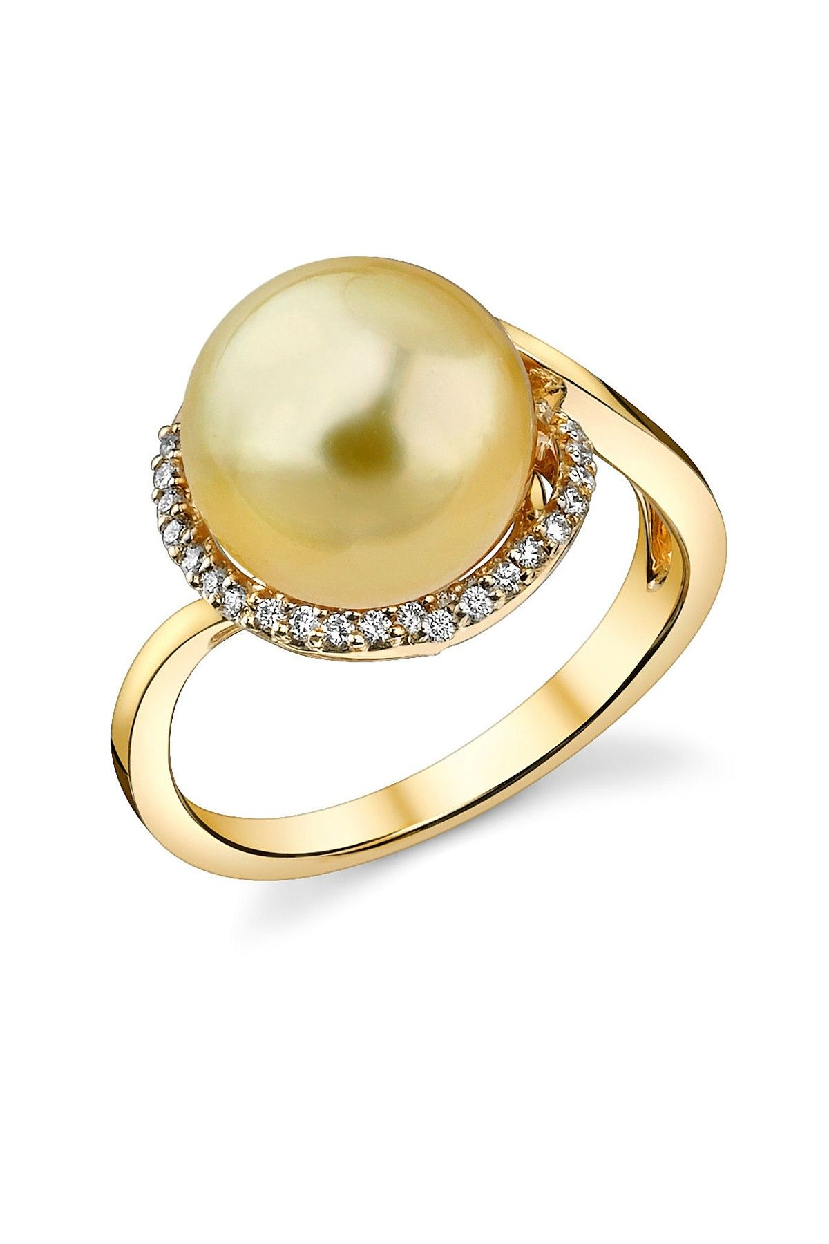 14K Yellow Gold 10mm Golden South Sea Pearl & Diamond Ring - 0.33 ...