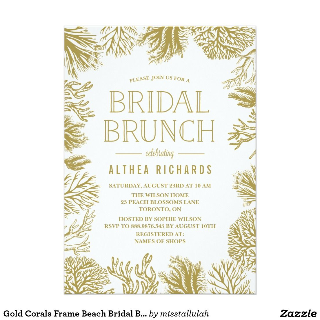 Gold Corals Frame Beach Bridal Brunch Invitation | WEDDING: BRIDAL ...