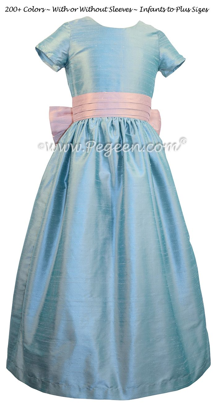 Caribbean Blue And Rose Pink Flower Girl Dresses Pegeen Classic