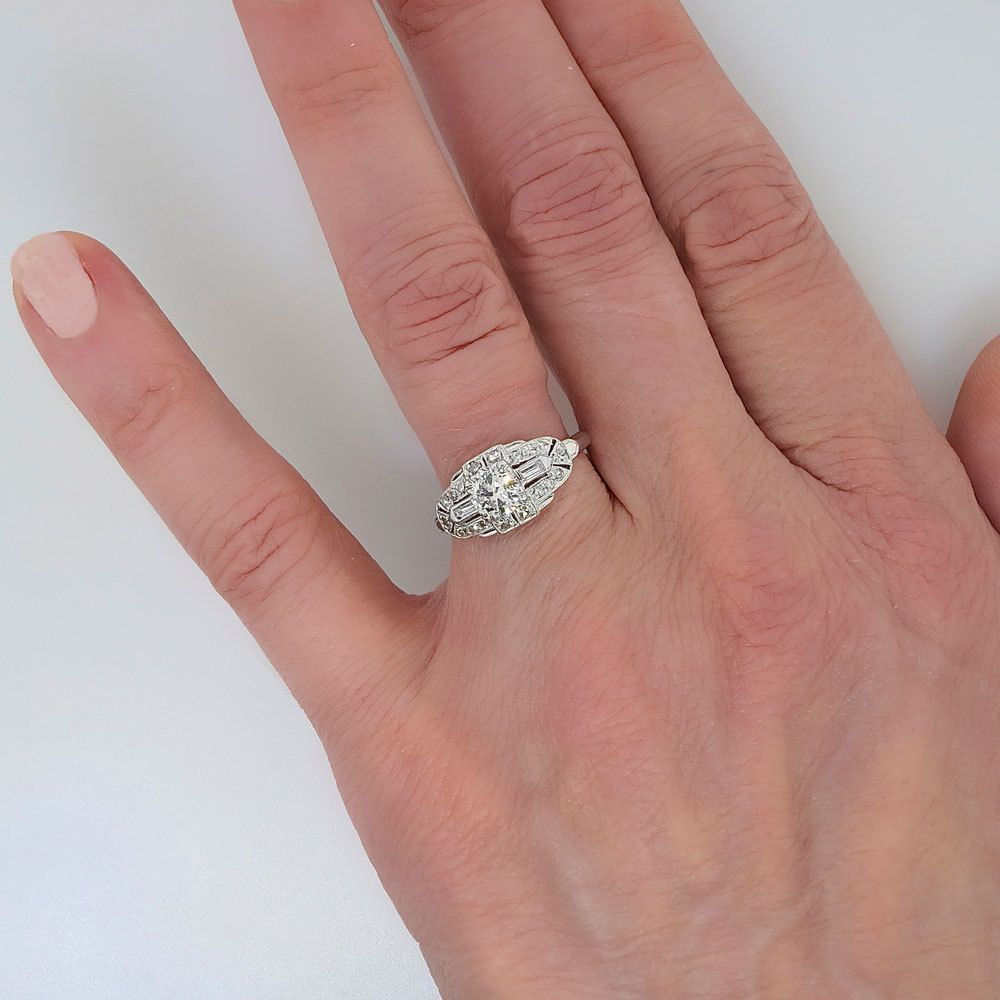 Glamorous .80ctw Sparkling Diamond Engagement Ring Platinum ...