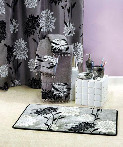 Erica Bathroom Collection Black White Bath Decor Shower Curtain
