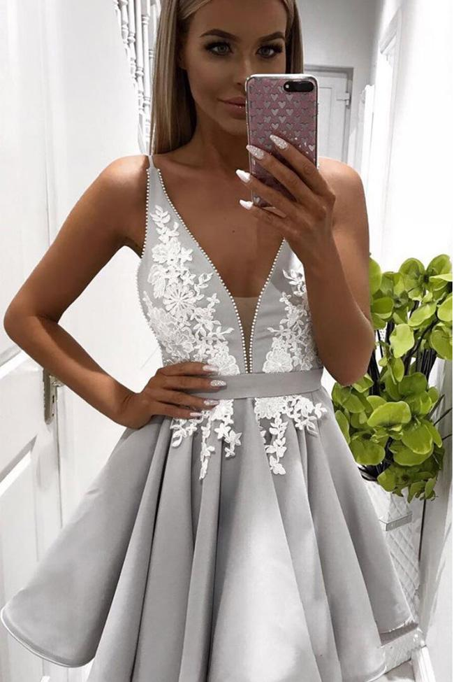 fb7c2ff71a0 Deep V Neck White Lace Grey Short Homecoming Dresses Fancy Prom Dress –  Laurafashionshop